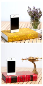 Iphone docks in the shape of books