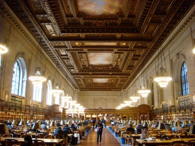 The Deborah, Jonathan F. P., Samuel Priest, and Adam Raphael Rose Main Reading Room is 297 feet long, approximately the length of a football field.
